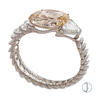 A TYPE IIA GOLCONDA LIGHT BROWN DIAMOND BANGLE Luxury Exceptional wearable art forms hk