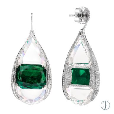 A PAIR OF COLOMBIAN EMERALD & DIAMOND EARRINGS Luxury Exceptional wearable art forms hk